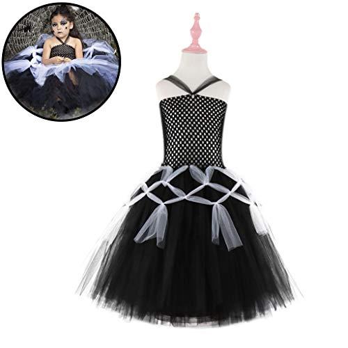 Girl Kostüm Muster Spider - DONGBALA Kids Spider Dress Früher, Halloween Kinderfest Tanzkleid Schulaufführung Karneval Cosplay Langer Abschnitt schwarz,160cm