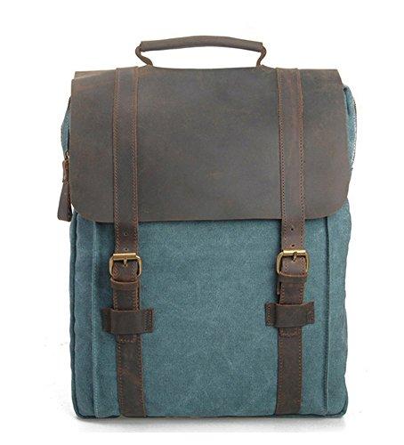 Leder Rucksack Verarbeitetes (Vintage Rucksack Leder Canvas Reisetasche Rucksack laptop für Studenten (blau))