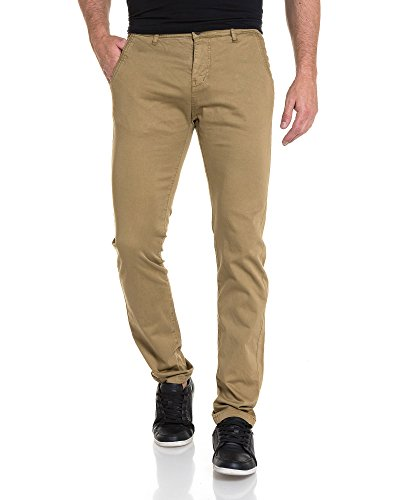 Deeluxe 74 - Pantalon chino homme slim sable Marron