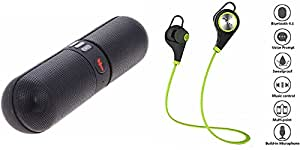 GENERIC Bluetooth Speaker & Bluetooth Headset compatible with INFOCUS M535(Compatible with Bluetooth, Pen Drive, SD card, Aux)- Facebook Pill   Bluetooth Speaker    Mobile Speaker   Laptop Speaker    Jogger Headset   Sports Headset   Wire less Earphone  Bluetooth Headphone    Exercise Headset    Gym Headset    With Mic)- Colour may vary