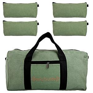 Bolsa de herramientas de lona resistente | Bono gratis: 4 bolsas grandes con cremallera | Bolsa de herramientas mecánica grande | Bolsa táctica de 18 pulgadas, verde