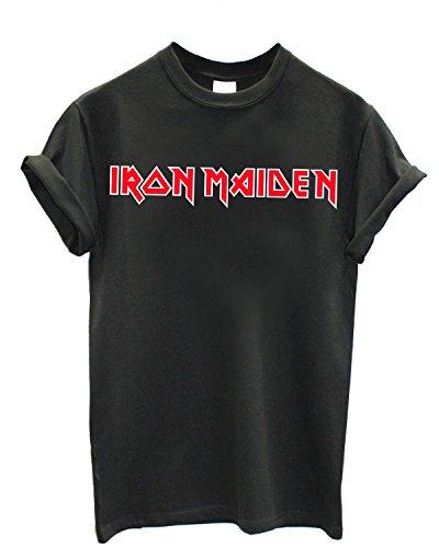 T-shirt Uomo Iron Maiden - Maglietta Rock Metal 100% cotone LaMAGLIERIA,L , Grafite