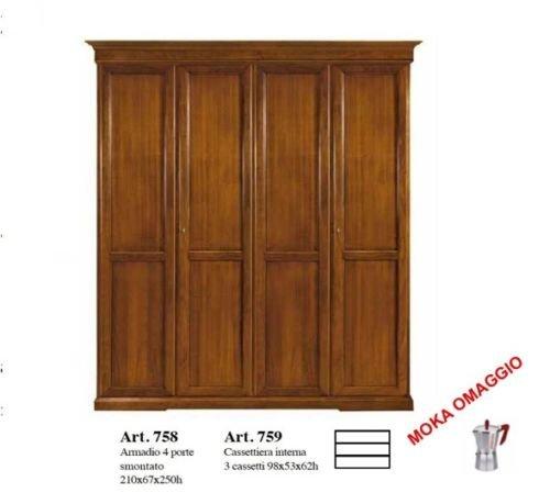 Classico armadio 4 ante battenti tinta noce in stile per camera da letto 758 210x67x250
