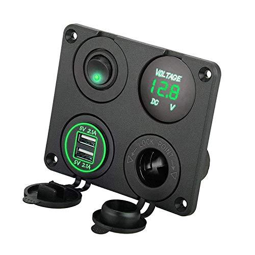 EEEKit 4 in 1 Ladegerät-Sockel, 12V 4.2A Dual-USB-Ladegerät-Steckdose und LED-Voltmeter- und Zigarettenanzünder-Buchse & Grüne LED-EIN/Aus-Kippschalter für Auto-Marine-Boots-LKW Marine Batterie-spezifikationen