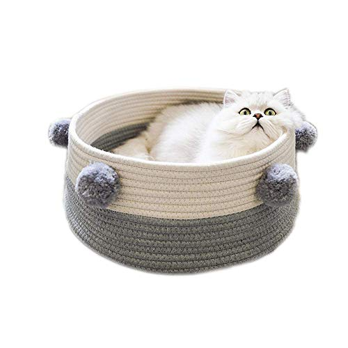 StarsBaby Mascota Gato Canasta Cama Gato Redondo Pompón