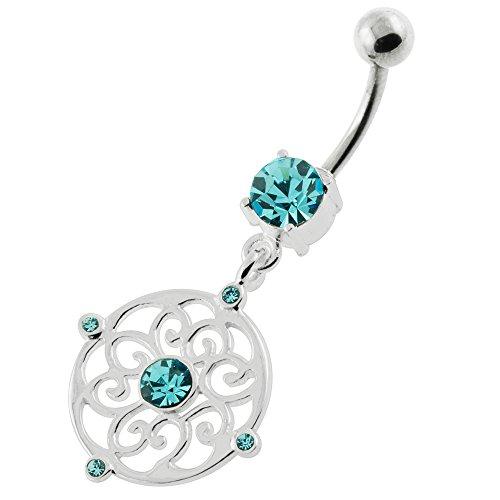 Celtique rond balançant Design 925 Sterling Silver ventre Bars branchés Bleu clair