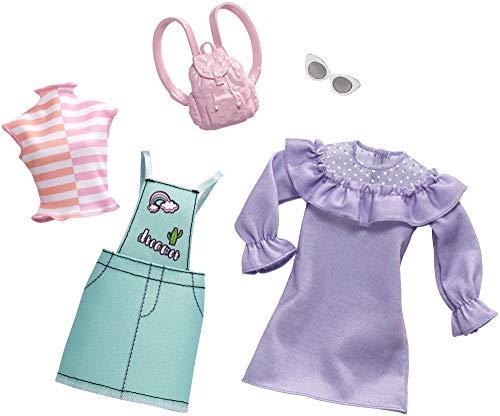 Barbie Fashionistas - Ropa de Barbie con 2 conjuntos completos, ropa y accesorios para muñecas (Mattel FXJ64)