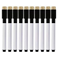 Zhoujinf-Erasable - Black Magnetic Whiteboard Marker Pens With Built In Eraser - 10 Pcs - Office School Stationery Supplies ...
