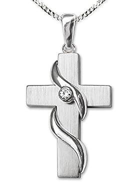 CLEVER SCHMUCK-SET Silbernes Anhänger Kreuz 23 mm matt mit 2 wellenartig umschlungenen Linien glänzend und einem...