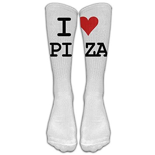 Kotdeqay I Love Pizza White Unisex Knee High Sports Sock (Knee Navy White Socks)