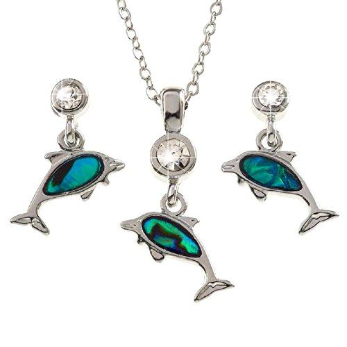 Bellamira paua abalone a forma di delfino ciondolo collana e orecchini gioielli set per donne per bambini, unisex, in confezione regalo