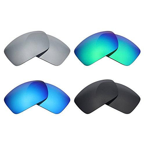MRY 4Paar Polarisierte Ersatz-Objektive für Costa del Mar Rufen sunglasses-stealth schwarz/smaragd grün/ice blau/silber titan