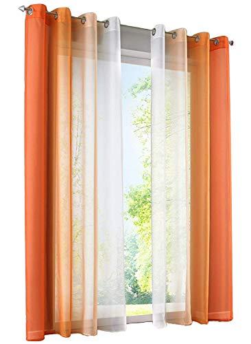 7Morning 2er-Pack Oesenvorhang Oesenschal Oesen Gardine Schlanfen-Vorhang Dekoschal BxH 140x225cm Orange & Weiss