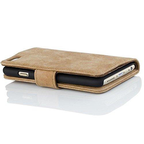 Golden Phoenix ROYAL Lederhülle für Apple-iPhone-SE-5-5S mit abnehmbarem Backcover, Geldfach und Kartenschlitze inkl. Display Schutzfolie - Hülle Tasche in Schwarz Lila