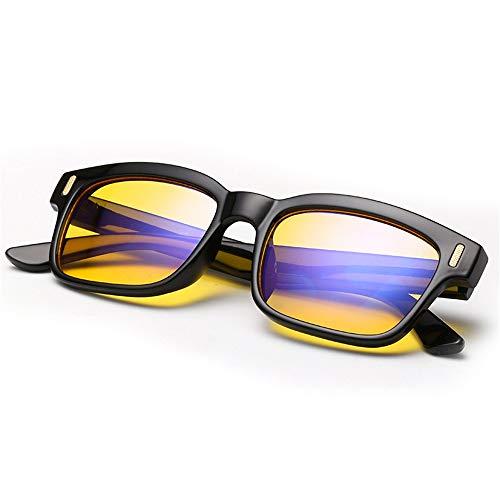 Nachtfahrt Polarisierte Brille für Männer Frauen Anti-Blendung Showery Safe Blue Light Blocking Brille für Computer Anti-Brillenträger-Linse Leichte Brillen Brille (Farbe : Schwarz)