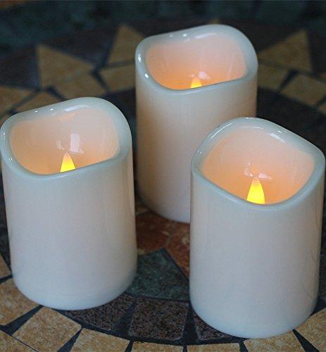 Outdoor Innen Kerzen wasserfest batteriebetrieben Kerzen mit Fernbedienung Timer 7,6x 10,2cm flackernde flammenlose Kerzen Set von 3