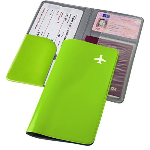 Carpeta de viaje para documentos verde manzana