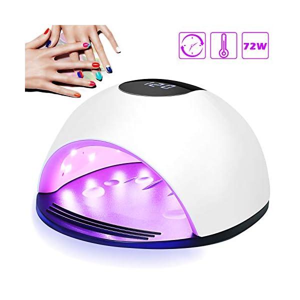 Lámpara LED UV Uñas, Nivlan 72W Lámpara LED Uñas Pantalla LCD Secador de uñas de Botón Táctil Sensor Automático de…