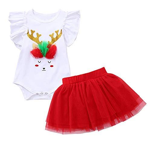 2 STÜCKE Weihnachten Kleidung Set LSAltd Kleinkind Baby Mädchen Cartoon Deer Print Strampler Neugeborenen Weihnachten Overall + Tutu Rock Outfits Alter Für 0-2 Jahre Alt