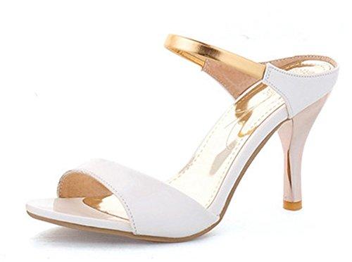 Aisun Femme Nouvelle Bout Ouvert Slip On Sandales Blanc