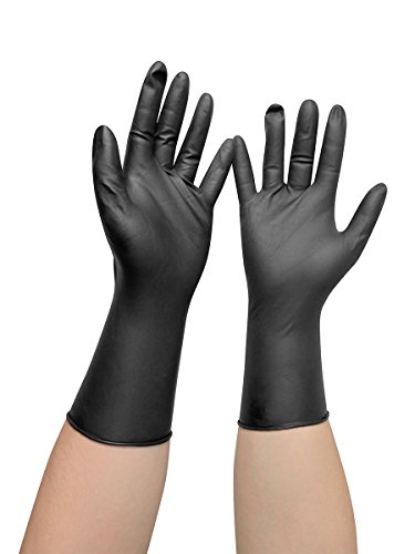 Comair 3010454 Vinyl Handschuhe mittel, puderfrei, langer Schaft, 100 stück, schwarz