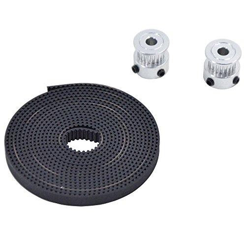 JSDL GT2 Timing, 2x GT2 20-Zähne 3D-Drucker Riemenscheibe + GT2-6mm Gummi Zahnriemen Gummigürtel Übermittlungsband (2m)