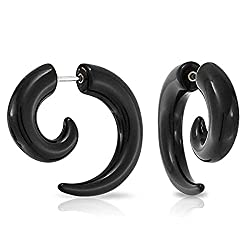 Mens Black Horn Claw Stud Earrings Cheater Fake Ear Plugs Gauges Illusion Tunnel, 2pcs