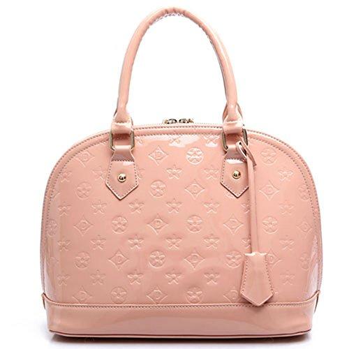 Keral Donne Casuale Elegante PU Pelle Puro Colore Spalla Borse Borsetta Pink Medio