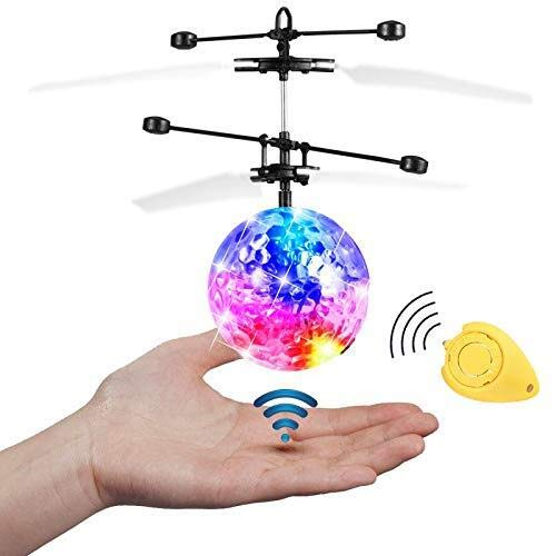 JAMSWALL Flying Ball with Remote Control Mini Drone Magic RC Toys with Shinning LED Lights Fun Gadgets for Boys Girls Kids Teenagers, Transparent