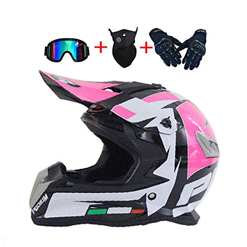 LEENY Casco da Motocross Rosa/Bianco/Nero Caschi da Cross Set con Occhiali/Maschera/Guanti, Casco da Moto off-Road Enduro Downhill Casco ATV MTB BMX Quad Casco da Motociclista,XL