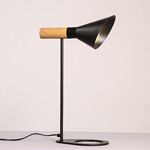 QiangDa Eisen Kreative moderne minimalistische Mode Persönlichkeit Tischlampe Schlafzimmer Bett Tischlampe, zwei Farben optional Neue Lampe ( Farbe : Schwarz ) (Eisen-bett-satz)