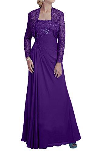 Milano Bride Damen Herrlich Langarm Abendkleider Festkleider Brautmutterkleider mit Bolero mit Steine Spitze Violett