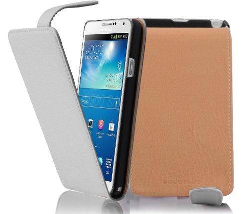 Cadorabo - Flip Style Hülle für Samsung Galaxy NOTE 3 (GT-N9005) - Case Cover Schutzhülle Etui Tasche in MAGNESIUM-WEIß