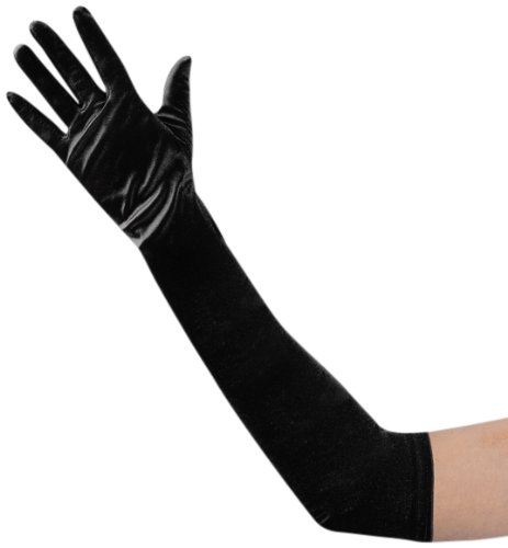 guanti raso Guanti neri lunghi in microfibra elasticizzati cm 48