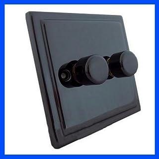 Standard Double Black Nickel Electrical Dimmer Light Switch PUSH ON/OFF Electrical Light Switch Lighting Dimming