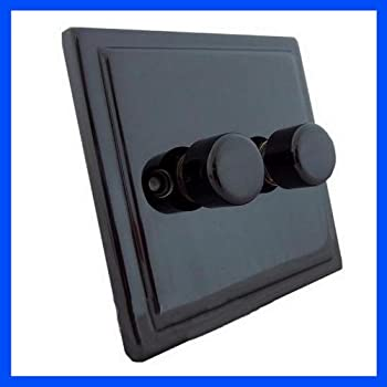 Standard Double Black Nickel Electrical Dimmer Light ...