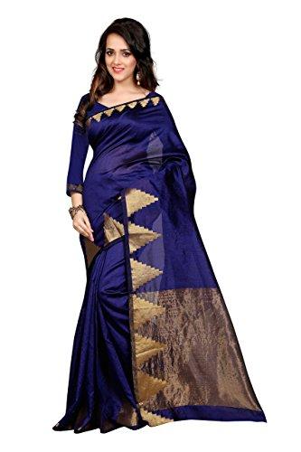 Shree Sanskruti Self Design Raw Silk Nevy Blue Color Saree For Women With Blouse Piece