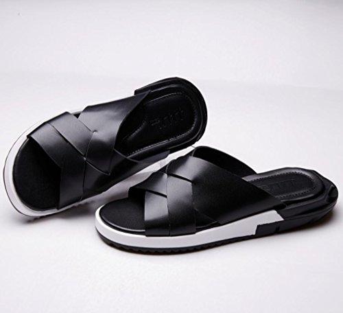 Slipper spessore delle mensole sandali del cuoio genuino per estate modo e comodo da indossare vt16809 black