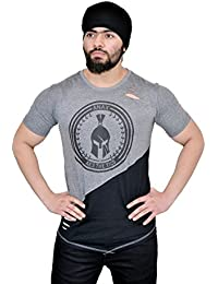 [Sponsored]Anax Aesthetics Grey & Black Distressed Dual V Drop T-shirt