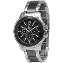 Lip 10839822 Style Women's Watch Analogue Quartz Black Dial Steel Strap, Black
