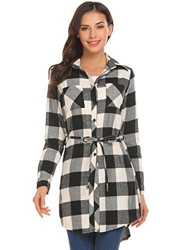 Button-down-kleid Damen Schwarz (Unibelle Damen Kleid Karierte Hmedkleid Shirtkleid Blusenkleid Langarmshirt Oversize Beige-Blau Beige-Schwarz XL)