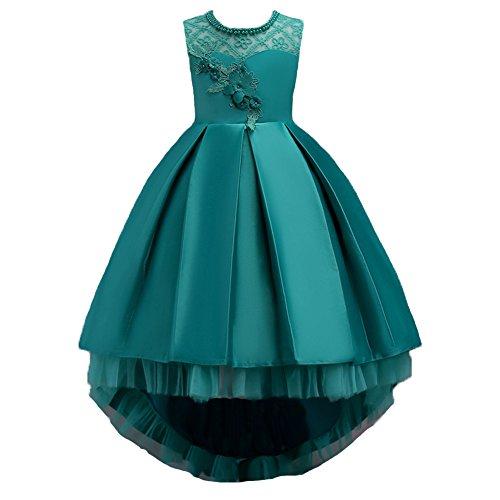 Wulide Kinder Mädchen Abendkleid Prinzessin Kleid Festkleid mit Blumen, Grün,...