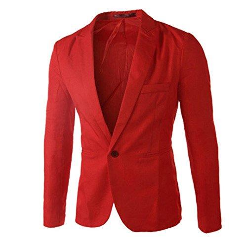 ESAILQ Bekleidung - Chaqueta de Traje - Básico - Cuello Redondo - Manga Larga - para Hombre Rojo Medium...