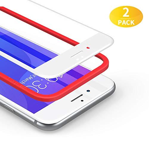 BANNIO Protector de Pantalla iPhone 7/iPhone 8,[2 Unidades] 3D Cobertura Completa Cristal Templado para iPhone 7/iPhone 8 con Kit de Instalación,9H Dureza,Sin Burbujas,Blanco