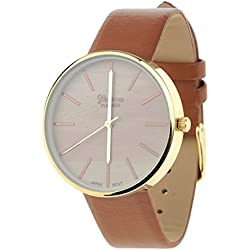 Unisex Geneva Stainless Steel Back Wood-Look Dial Tan Faux Leather Strap Watch