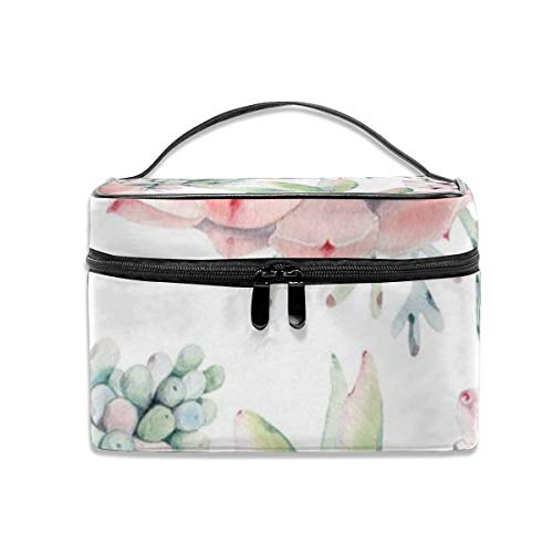 -up Tasche, Garden Leaves Turquoise Mint Green Portable Travel Makeup Bag Cosmetic Organizer Tote Bag for Women Girls ()