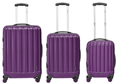 Packenger Kofferset - Velvet - 3-teilig (M, L & XL), Lila, 4 Rollen, Koffer mit TSA- Schloss und Erweiterungsfach, Hartschalenkoffer (ABS)