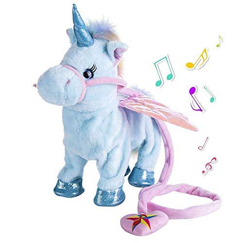 Abester Giocattolo di Peluche a Forma di Unicorno ambulante Elettrico Giocattolo di Peluche, Guinzaglio per canti magici Pony per Bambini Ragazze Ragazzi, Bambini e Animali Domestici (Blu)