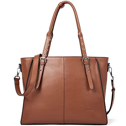 BOSTANTEN Damen Leder Handtasche Schultertasche Frauen Designer Cross-Body Taschen 14 15 Zoll Laptoptasche Tote Bag Braun -