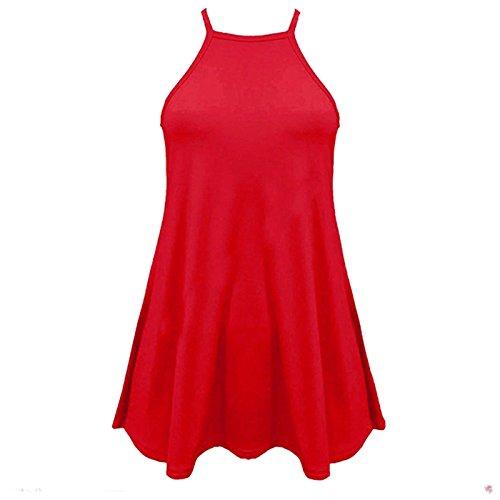 Mesdames col haut Cami Vest manches uni Flared Balançoire Haut Taille 36-50 Rouge